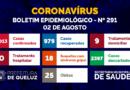 Boletim Epidemiológico da COVID-19 em Queluz   Nº 291 – 02 de agosto de 2021;